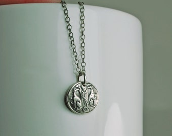 Greyhound Crest Fine Silver Small Pendant with Sterling Silver Necklace