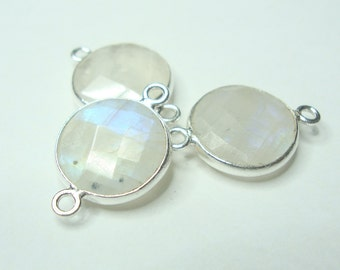 White Moonstone Sterling Silver Bezel Rim Round Pendant Charm Connector Link, 19x12mm