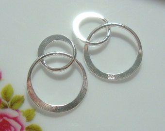 2 pcs, 13x20mm, 925 Sterling Silver Handcrafted 2 circles Link, Infinity Link, High Polished Infinity Connector