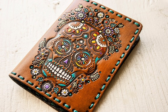 Leather Passport Cover - Sugar Skull Floral Design - Day of the Dead - Mexicali Calaveras - Día								<a href=