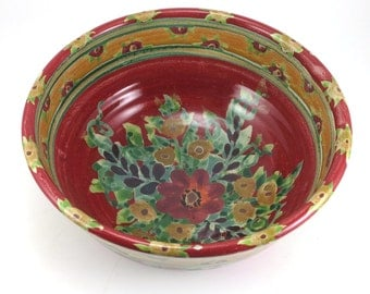 """Red ceramic bowl - 7"""" porcelain serving bowl with flowers"""