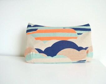 Clutch in Aqua, Navy Blue, Neon Orange and Natural Clouds