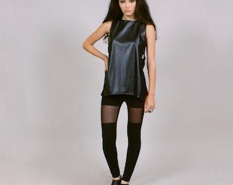 Minimal black leggings - sweatshop free ethical clothing L - thigh hi sheer mesh