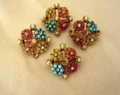 Four Vintage Pastel Floral Scatter Pins 1950's