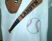 Boy's Personalized Baseball Bat with glove and baseball Shirt or Bodysuit size newborn 3 mo 6 mo 9 mo 12 mo 18 mo 24 mo 3t 4t 5t 6 8