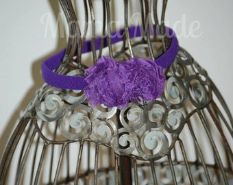 Purple Mini shabby flower headband Mini shabby flower headband newborn headband baby Purple shabby flower headband purple shabby flower