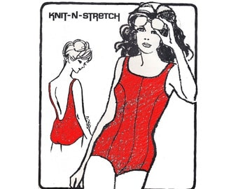70s One Piece Swimsuits Pattern Knit N Stretch 485A Vintage Sewing Pattern Princess seam bathing suit Sizes 10 - 18 UNCUT Ff