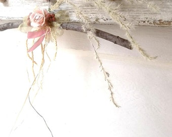 Woodland Shabby Pink Rose. Rustic Twig Branch Hanger ©. Woodland Wedding. Romantic Cottage by 3VintageHearts