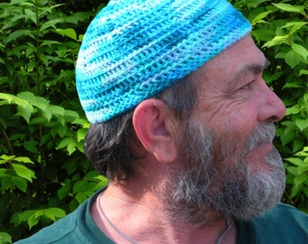 Mens Cotton Cancer Cooling Cap™ Crocheted In Ocean Blues