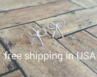 sterling silver bow earrings FREE SHIPPING posts