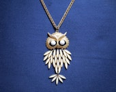 Large Owl Pendant Vintage Statement Necklace with White Accents