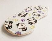 Panda Sleep Mask Kawaii Blindfold Purple Eye Shade Cartoon Travel Mask Girl Woman Sleep Accessory Animal Vegan Cute