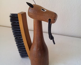Teak Wood Horse Brush. 1960's Vintage Modernist. Mod, Mid Century, Danish Modern, Eames, Bojesen, Bolling era.