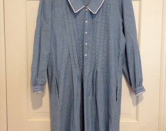 80s Chambray Lace Collar Puff Sleeve Dress