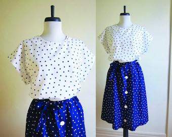 Vintage 1970s Dress / Blue & White POLKA DOT Nautical Sailor Dress With Belt / Size Medium Large