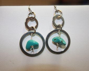 Turquoise Nuggets Drop Dangle Circle Silver Tone Earrings WatercolorsNmore