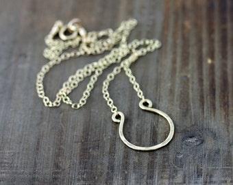 Gold Horseshoe Necklace, Silver Horseshoe Necklace, Lucky Necklace