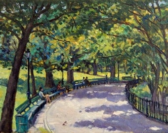 Park Benches, NYC. Large Original Oil Painting, New York City Oil on Canvas, 12x20 Impressionist Fine Art, Signed Original Oil