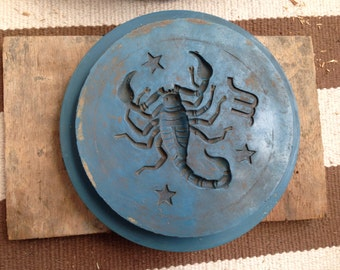 Antique Rare Blue Pewter Mold Plate of Horoscope Scorpio Scorpion Zodiac.  Astrology Wall Art.  Birthday.