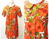 Vintage 1970's White Orange Red and Green Hawaiian Floral Print House Dress with Peter Pan Collar Short Sleeve Summer Tiki Sears Clothing