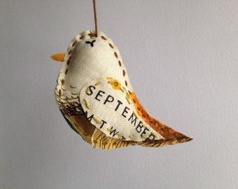 Bird Ornament - September - Repurposed Vintage Calendar Tea Towel - Hand Embroidered - Great September Birthday Gift