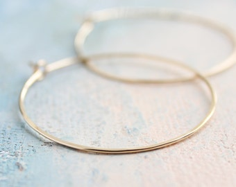 "Gold Hoop Earrings - Medium Hoop Earrings ( 1.5"" ) thin hoop earrings, gold hoop earrings, thin gold hoops, gold earrings"