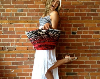 Fabric Basket - Art Tote Bag - Coiled Artistic Basket - Market Basket with handles - Red, White, Black Storage Bin