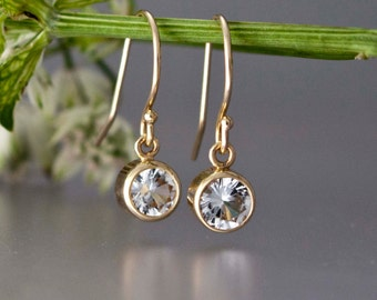 White Sapphire and 14k Gold Drop Earrings - Available in White or Yellow Gold