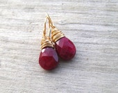 Natural Ruby Earrings,  14K Gold Filled,   Raw Ruby, Genuine Ruby, July Birthstone Jewelry, Gold Ruby Earrings