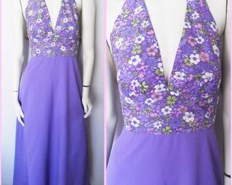 Vtg.70s Purple Floral Halter Maxi Dress.S.Bust 34.Waist 26.