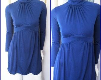 Vtg.60s Cobalt Blue High Neck Ruched Gathered Long Sleeve Mod Mini Dress.S.Bust 36.Waist 28.