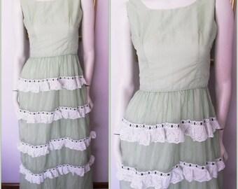 Vtg.60/70s Green White Swiss Dot Lace Ruffle Layered Maxi Dress.S.Bust 34.Waist 26.