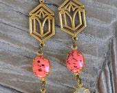 Downton Abbey Art Deco Vintage Coral and Brass Rhinestone Dangle Earrings