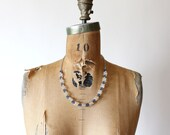 1930s necklace - early plastic necklace - blue lucite bead necklace - art deco