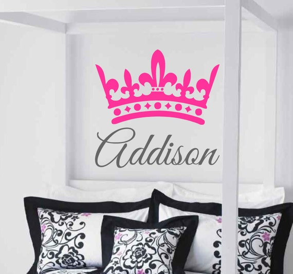 Princess Vinyl Decal Wall Sticker Words Lettering Nursery: Items Similar To Princess Crown With Name- Vinyl Wall