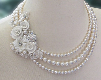 Vintage Style Swarovski Pearl Necklace with Crystals, Wedding Necklace, Triple Strand, Statement Necklace - WEDDING CAKE