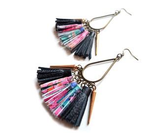 Brass Dangle Earrings, Leather Tassel Earrings, Gold Black Pink Earrings, Spike Earrings, Chandelier Earrings, Fringe Leather Jewelry