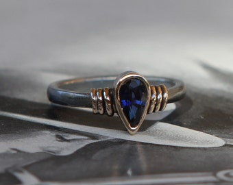 Hand Forged .69 CT Natural Blue Sapphire Ring Oxidized Sterling And 14K Gold SZ 7