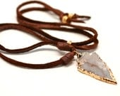Arrow Necklace Earthy Necklace Suede Necklace Agate Arrow Organic Necklace Leather Necklace Trendy Arrowhead Natural Stone Jewelry Brown