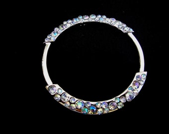 """2.25"""" Silver Tone Round Metal Jewelry Piece with Clear Glass Rhinestones for Necklaces Pendants Earrings Charms Bridal S113"""