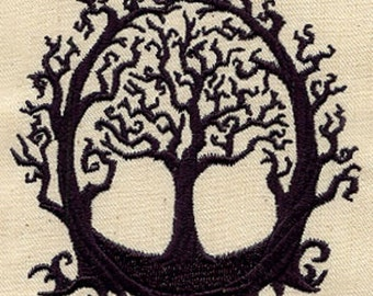 The Old Oak Embroidered Cotton Kitchen Towel, Gothic Tree