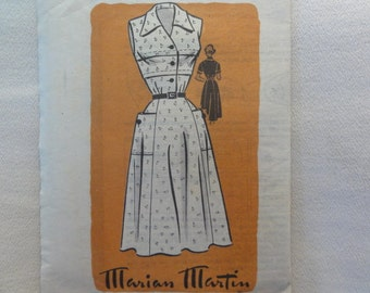 1950s Marian Martin Shirtwaist Dress, Sleeveless Day Dress - UNUSED Vintage Marian Martin Mail Order Sewing Pattern 9049- Size 12 Bust 30