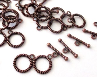 Antiqued Copper Toggle Clasp - Jewelry Closure - Bar and Ring One Strand Clasp - Diy Jewelry Findings - 13mm - 16 Pairs 32 Pcs