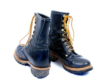 Black Leather Georgia Logger Boots, Heritage Boots, Great Condition, Size 9 1/2