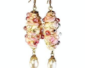 Pink Pearl Dangle Earrings, Fabric Earrings, Wire Wrapped, Fiber Art, Pink Wedding, Bridal Jewelry