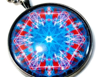 Third Eye Statement Pendant, Necklace, Sacred Geometry, Mandala Art, Mandala Jewelry, Red and Blue Kaleidoscope, LARGE