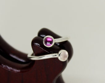 Pink Tourmaline & Rose Quartz Ring // Sterling Silver // Duality // Open Ended  // Stacker Ring // Stacking Ring // Gemstone Ring