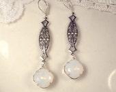 Art Nouveau/Deco Opal Earrings 1920 White Opal Rhinestone Long Dangle Earrings Antique Silver Vintage Bridal Statement Drop Gatsby Flapper