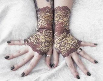 Lamplight Long Lace Fingerless Gloves | Brown Taupe w/ Pale Champagne Gold Floral | Victorian Wedding Gothic Dark Burlesque Goth Bridal