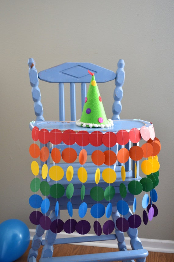 Rainbow Highchair Birthday Banner - vibrant colors for a celebration